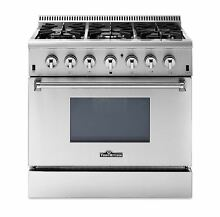 36  Dual Fuel Range 6 Burners Oven Stainless Steel Range HRD3606U Thor kitchen