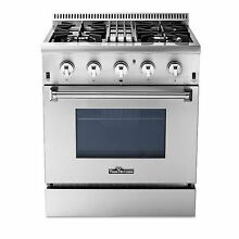30  Thorkitchen Dual Fuel Range with 4 Burners Oven Stainless Steel HRD3088U