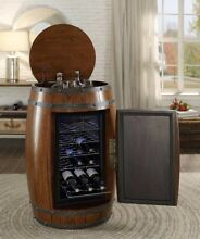 RUSTIC CHERRY OR OAK FINISH WOOD WINE BARREL REFRIGERATOR COOLER STORAGE BAR