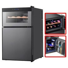 Mini Fridge 8x Bottle Wine Cooler Refrigerator 2x Thermostats LED Touch Controls
