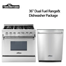 36  Dual Fuel Range 24 Dishwasher 6 Burners 2 oven Stainless Steel Thor kitchen