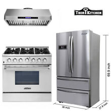 Thor Kitchen 36 inch RANGE 36  Refridger 6 burner 36 lcd range hood package