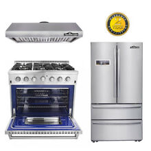 Thor Kitchen 36 range 6 burners 36  Refridger 36 hood fan buttons package