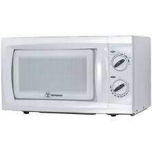 Westinghouse 0 6 Cu  Ft  600W Counter Top Rotary Microwave Oven in White   WCM66