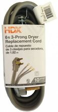 6 Ft 3 Wire Copper Safe Handling Space Saving Replacement Dryer Cord Gray New
