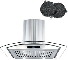 Cosmo 30 in  Ductless Wall Mount Range Hood in Stainless Steel with LED and Kit