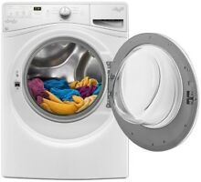 Stackable White Front Load Washing Machine Adapative Wash Technology Energy Star
