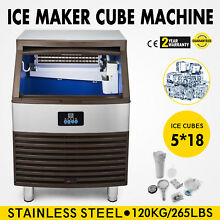 Ice Cube Making Machine 265lb 24h Commercial Ice Maker Stainless Steel 110v