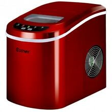 Ice Maker Portable Red Compact Electric Mini Countertop Kitchen Parties Machine