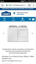 New Whirlpool Washer and Dryer from Lowes with transferable 3 year warranty