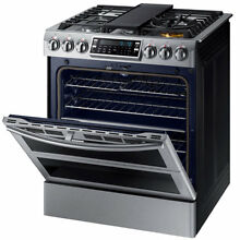 Samsung 5 8 cu  ft  Flex Duo  In Double Oven Gas Range MODEL  NX58K9850SG