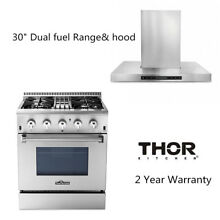 30  Thor kitchen Stainless Steel Dual Fuel Range Oven 30 Wall Mounted Hood