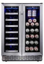 Phiestina Built In Dual Zone Wine and Beverage Cooler with Stainless Steel Frenc