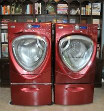 Top of the Line GE Profile Washing Machine GAS Dryer Red w Pedestals VERY CLEAN