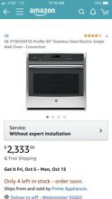 GE PT9050SFSS 30  Stainless Single Electric Convection Wall Oven  Brand new