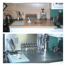 Satin Peel and Stick Brushed Stainless Steel Appliance Refrigerator Panel 3 x6