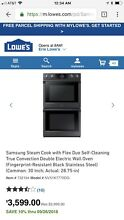 SAMSUNG Double Oven Gas Slide in Black Stainless Steel New In Box Smudge Proof