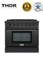 Thor Kitchen HRG3618 BS Black Gas Range Professional 36  Free Standing