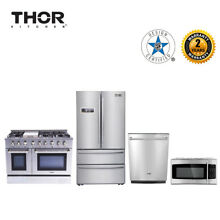 Thor kitchen 4piece package48 Inch 6 Burner Range Dual Fuel Double Electric Oven