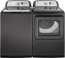 GE Gray Top Load Laundry Pair with GTW750CPLDG 27  Washer and GTD75ECPLDG 27  El