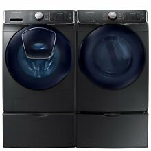SAMSUNG AddWash Front Load Washer and Electric Dryer with Pedestals New
