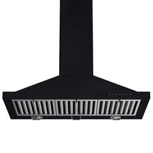 Zline 36  Designer Wall Range Hood Black Finish Crown Molding LED 8KBB 36