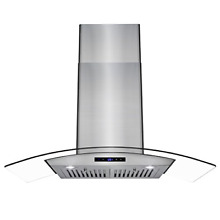 AKDY 36  Wall Mount Stainless Steel Glass Range Hood Touch Panel Control Baffle