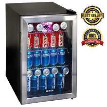 Refrigerated Mini Fridge Beverage Cooler With Built In Glass Door Stand Up