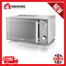 Swan SM3080N 800W Digital Solo Microwave 10 Power Levels In Silver   Brand New