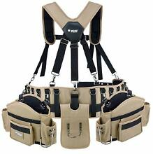 Professional Comfort Rig Tool Belt With Suspenders  Adjustable System With 2 Pow