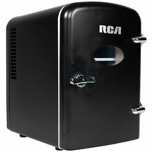 RCA Mini Retro Fridge 6 Can Beverage Compact Refrigerator and Warmer   Black