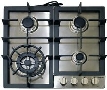 Magic Chef Gas Cooktop 24 in  4 Burners Electronic Ignition Stainless Steel