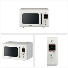 Retro Countertop Microwave Oven 0 7 Cu Ft 700W Two Way Defrost Cream White NEW