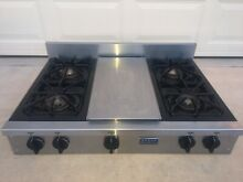 FiveStar Stainless 36  Commercial Style 4 Burner Gas Cooktop w Griddle    Used