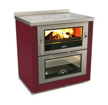 Wood Burning Cook Stove Rizzoli ML80 Burgundy   Right Flue