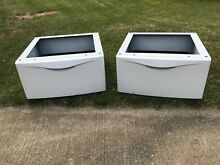 2 Maytag Universal Laundry Pedestals with storage 27  x 27  x 14   color white