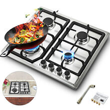 4 Burner Stove Gas Propane Range Tempered Ignition Camping Outdoor Glass Cooktop