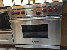 Wolf Gas Stove 6 Burner  Stainless outside   blue inside