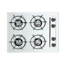 Gas Cooktop 24 in  4 Burner 9 000 BTU Side Dial Controls White