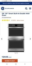 GE  30  SMART BUILT IN DOUBLE WALL OVEN   JTD3000SNSS