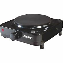 Aroma Single Burner 5 8 in  Black Diecast Hot Plate with Temperature Control