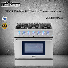 THOR Kitchen 36  Electric Convection Oven Dual Fuel Gas Range 6 Buener 5 2Cu Ft