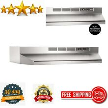 Non Ducted Ductless Range Hood w Light Exhaust Fan Under Cabinet Stainless Steel