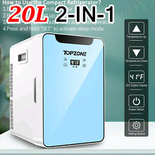TOPZONE Mini Fridge 20 L Portable Compact Refrigerator 2 IN 1 Cooler   Warmer