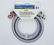 2 Pack Everbilt 3 4  x 3 4  Stainless Steel 4ft Braided Washing Machine Hoses
