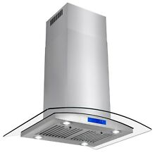 30  Stainless Steel Island Mount Range Hood with Tempered Glass LED Touch Panel