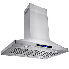 36  Range Hood Stainless Steel Island Mount  with Touch Screen Display LED