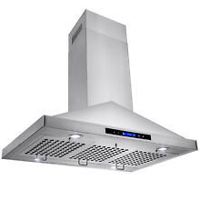36  Island Mount Stainless Steel Range Hood w  Baffle Filters and LED Lights
