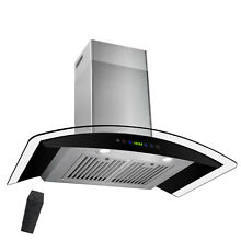 European Stainless Steel Glass 30  Wall Mount Range Hood BLACK LED Panel