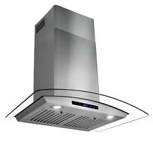 30  Stainless Steel Glass Wall Mount Kitchen Range Hood Touch Control Panel